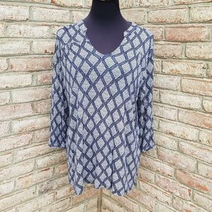 Lucky Brand Patterned Navy Blue Blouse Plus Size